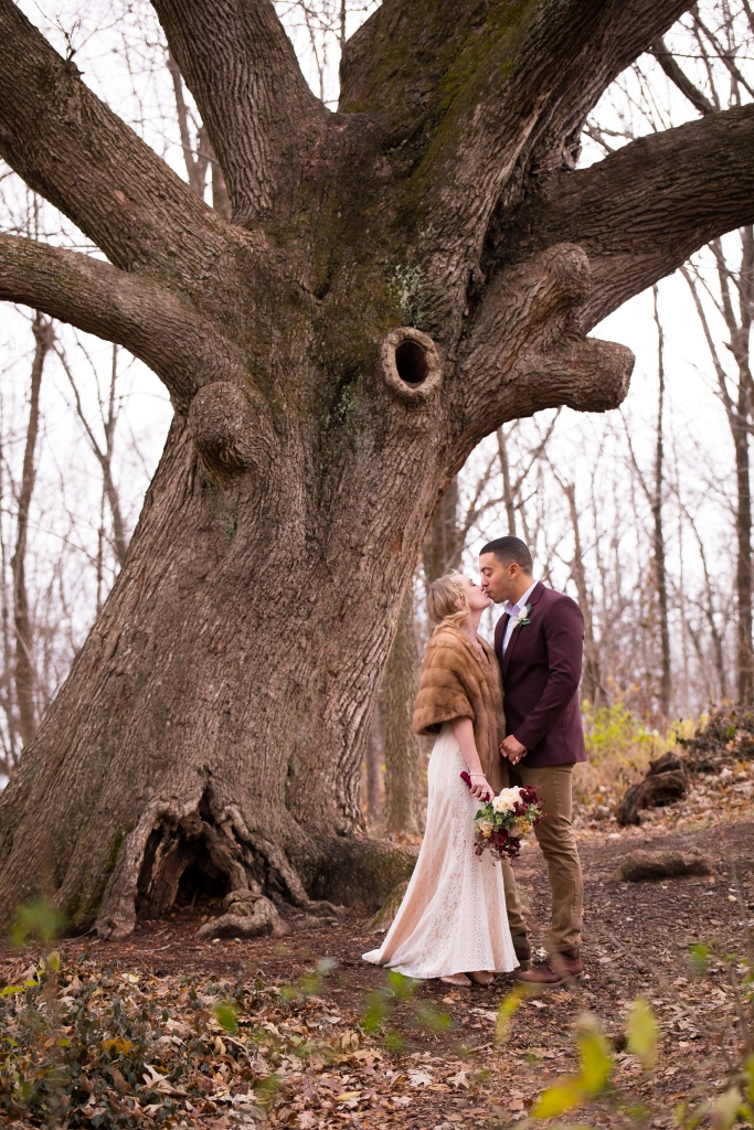 Bride and groom kissing by Burr Oak tree during wedding at McConnell's Trace in Lexington, Ky.