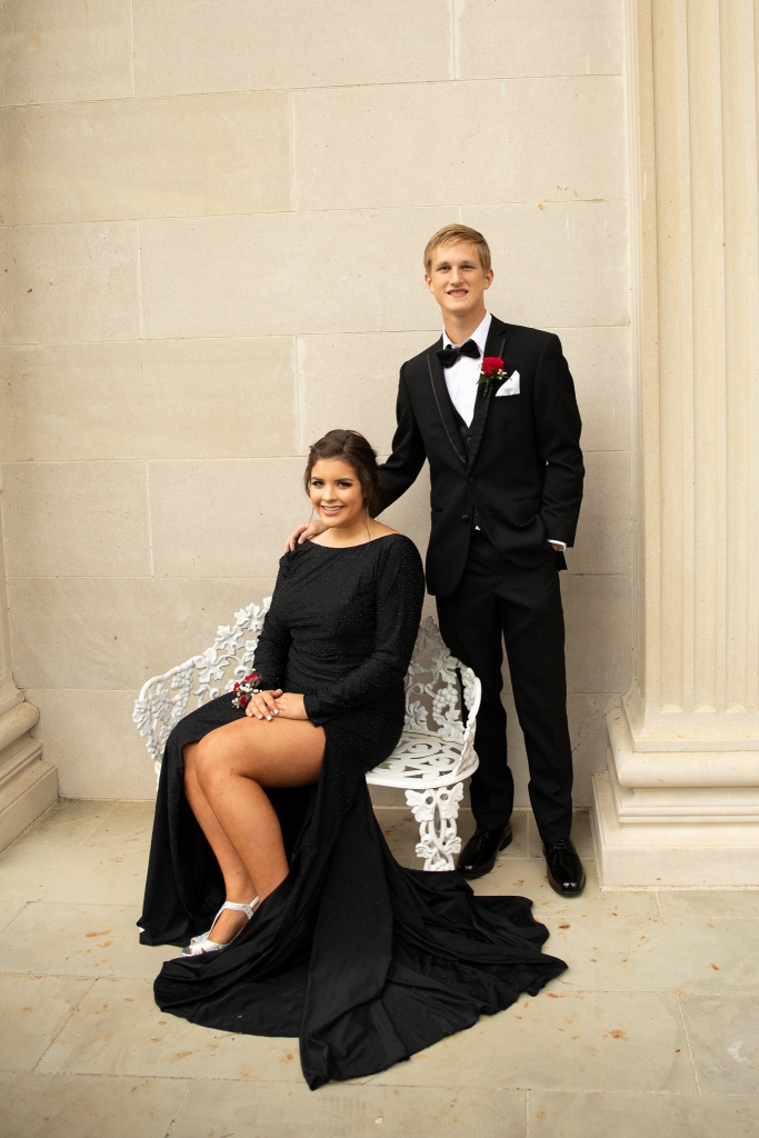 Prom couple at Spindletop in Lexington Ky, girl in black gown and guy in black suit