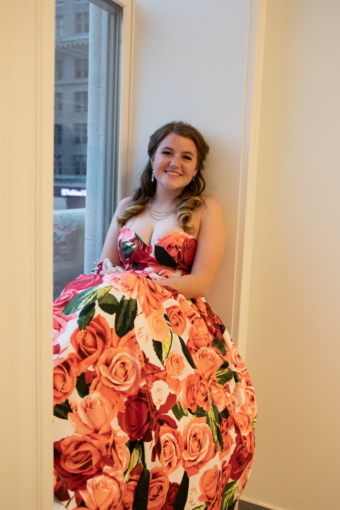 Girl in floral prom dress